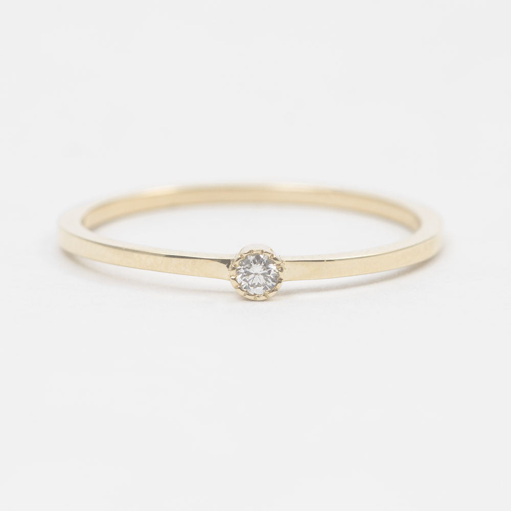 White Diamond Mini Solitaire Ring