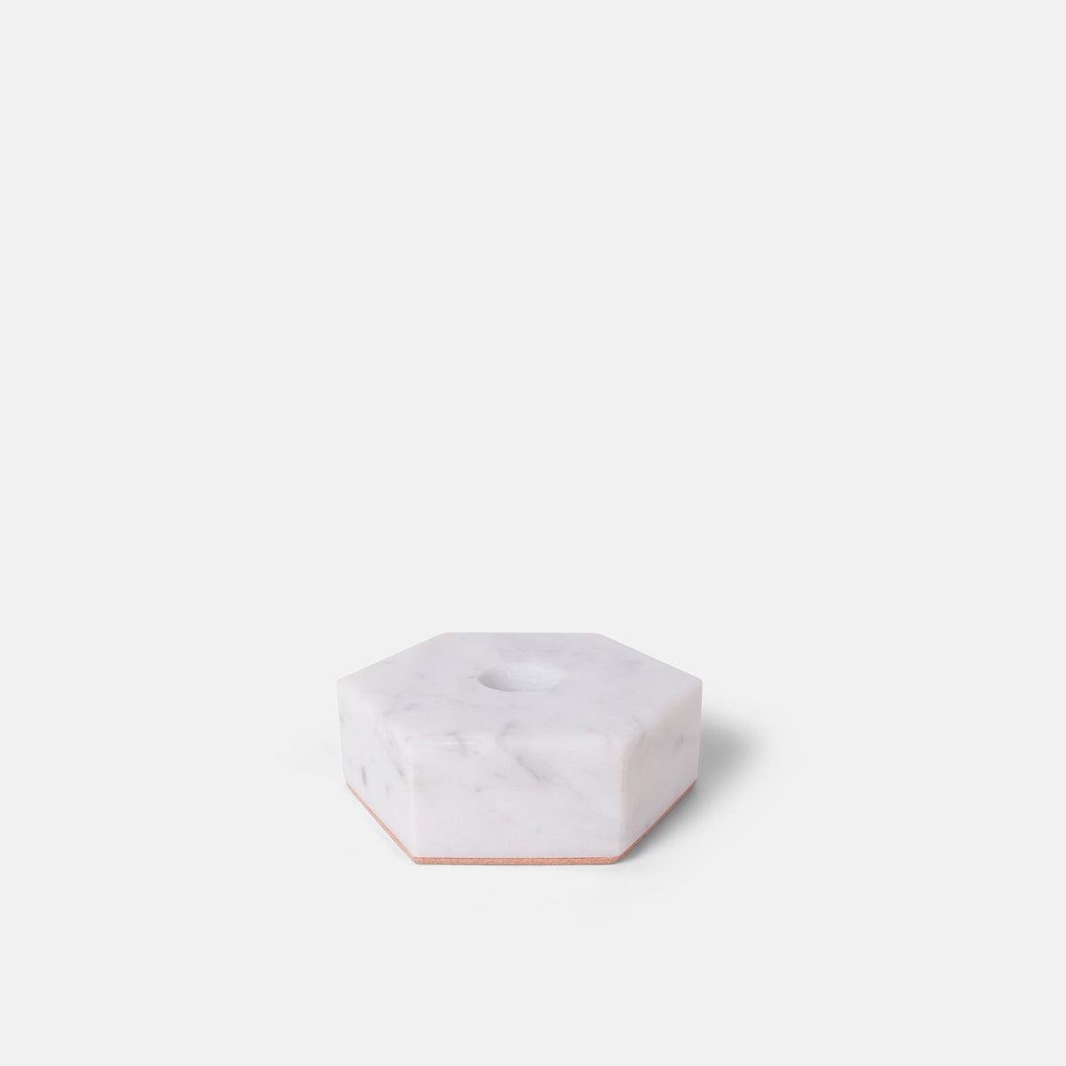 Stone Hexagon Candle Holder in White