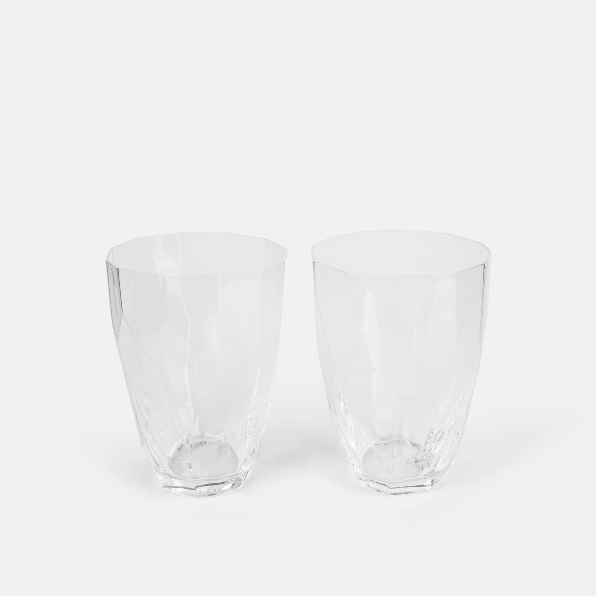 Tall Faceted Clear Glass Set