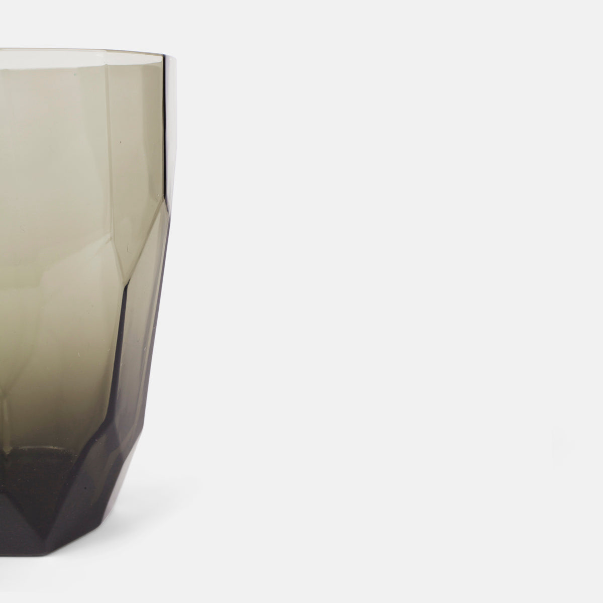 Tall Faceted Grey Glass