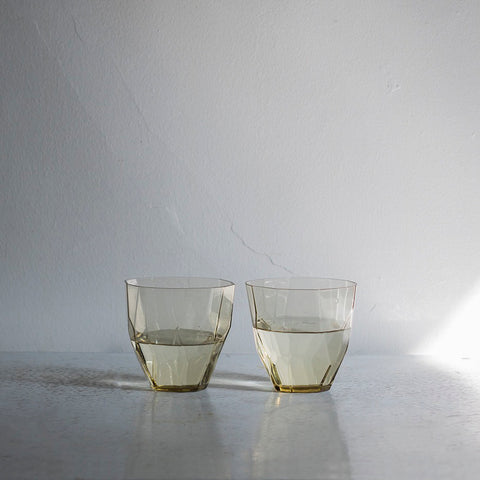 Faceted Tan Glass Set