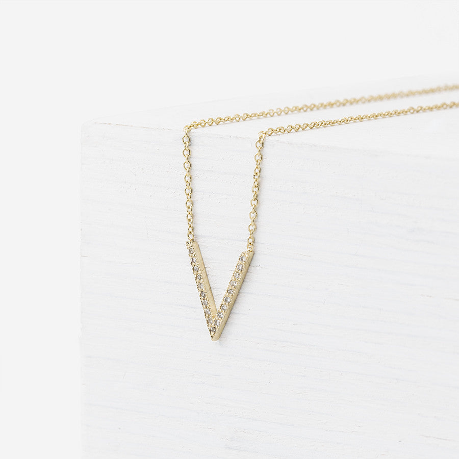 V Necklace with Pave Diamonds