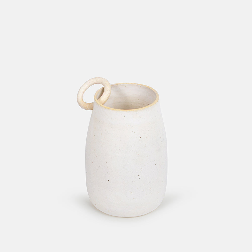 White Vase with Pierced Ring