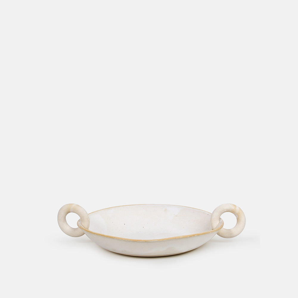 White Platter with Double Rings