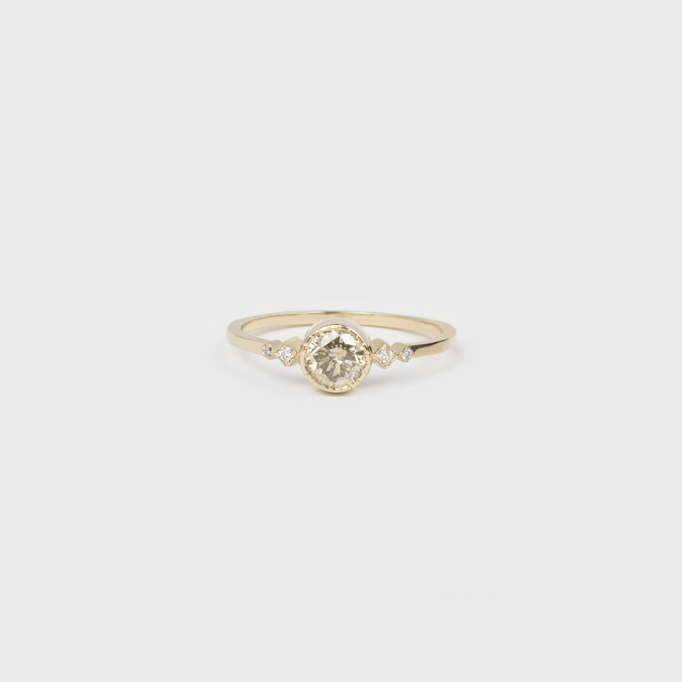 diamond products attic champagne rings gold rosecut ring engagement pear