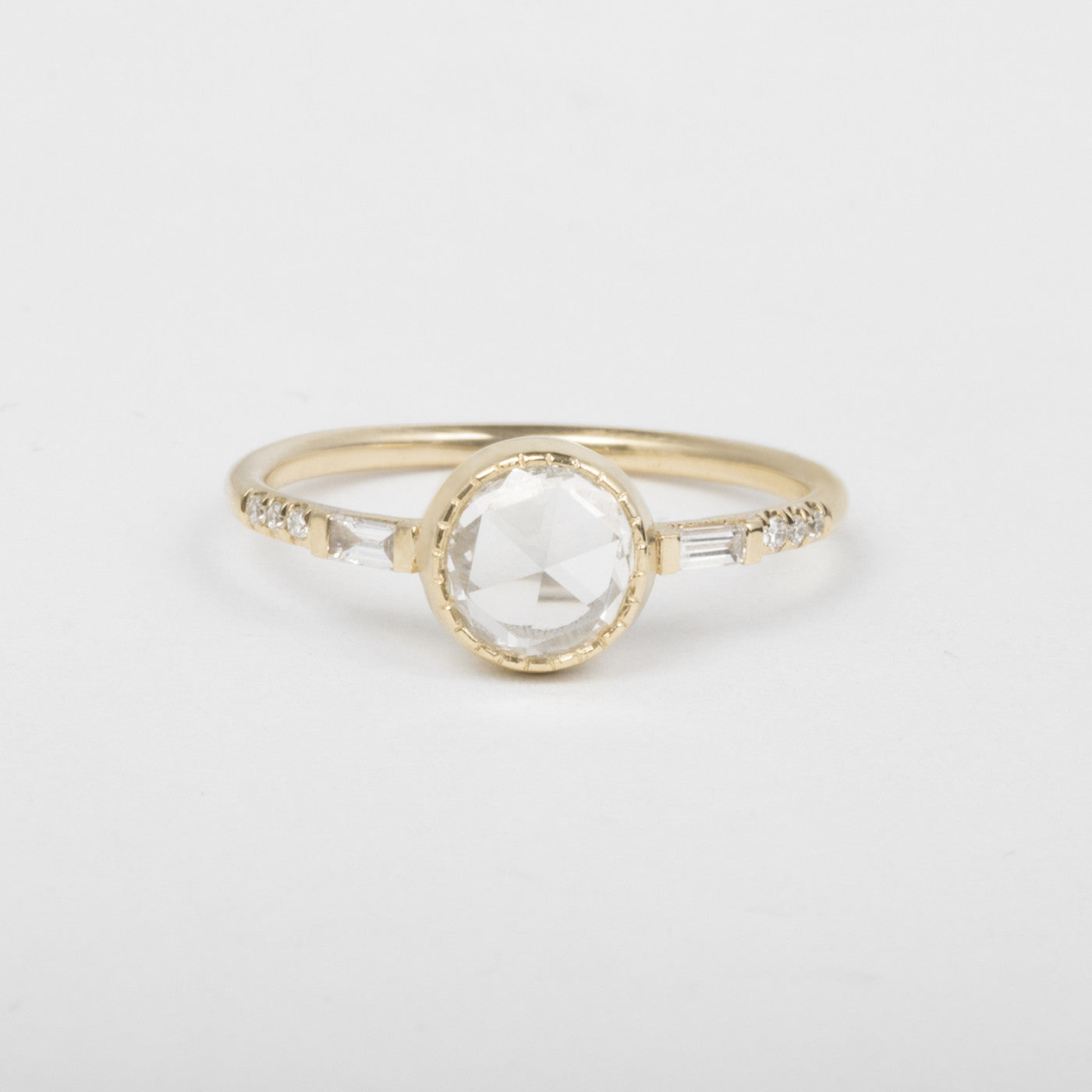 Rosecut Diamond Baguette Ring