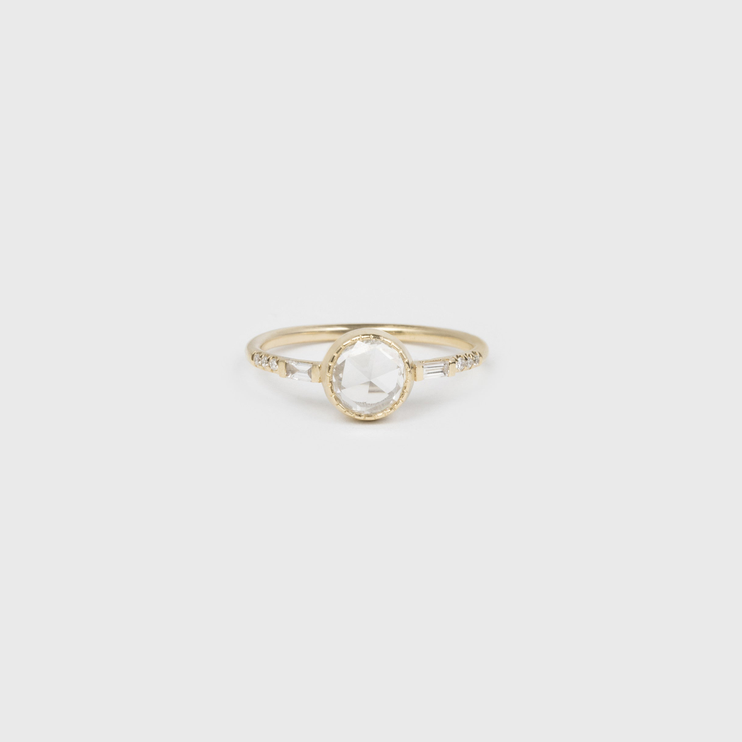 Rose cut Diamond Baguette Ring