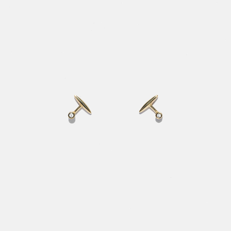 Gold T Earrings with Diamonds