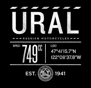Top: Ural Russian Motorcycles, within a broken line boarder. Beneath that, 749cc, longitude and latitude in the style of blue print specs. At the bottom, the Ural IMZ badge and the text: Established 1941.