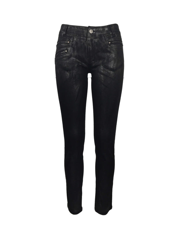 Women's Washed Gunmetal Zip Skinny Jeans by Atelieri