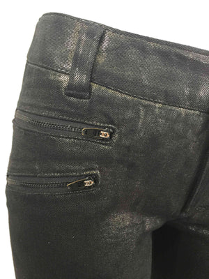 Women's Washed Gunmetal Zip Skinny Jeans by Atelieri - ATELIERI
