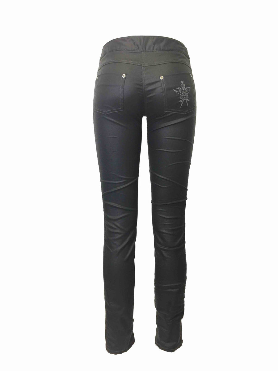 Women's Slim Black coated Biker Jeans by Atelieri