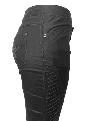Women's Slim Black coated Biker Jeans by Atelieri - ATELIERI