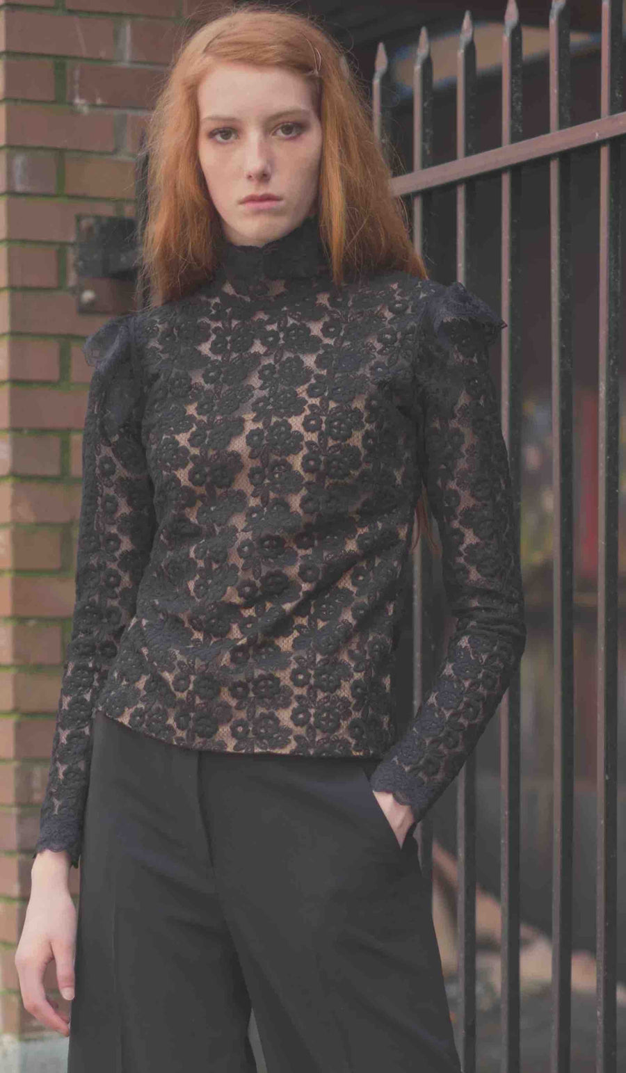 Black Lace Turtleneck by Atelieri