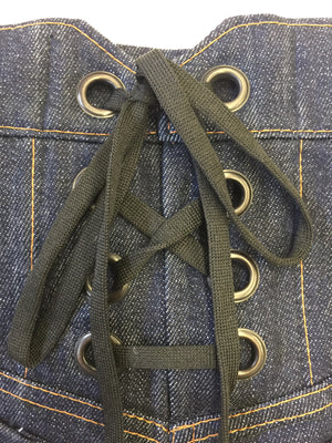 Close up of back waist lacing on Atelieri jeans