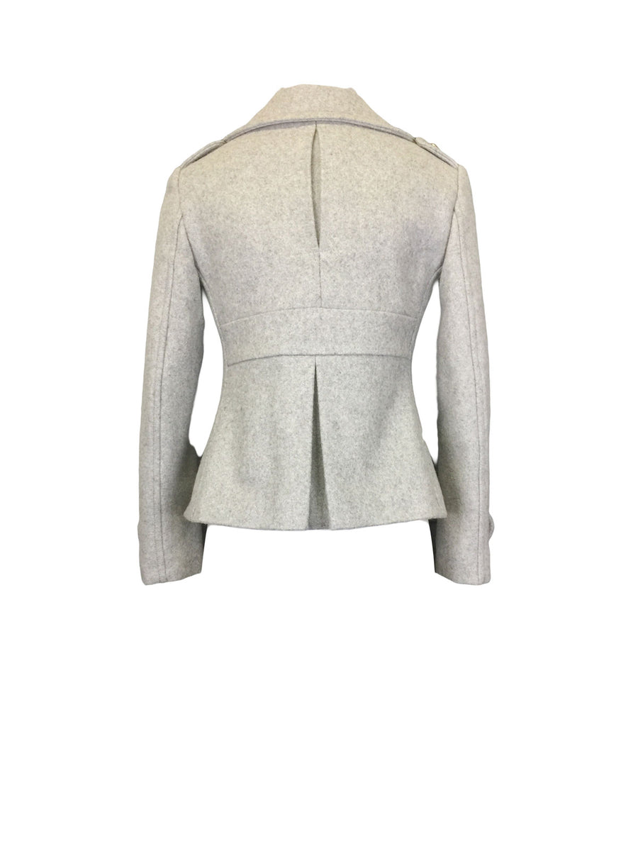 Ash Grey Melton Pea Jacket by Atelieri
