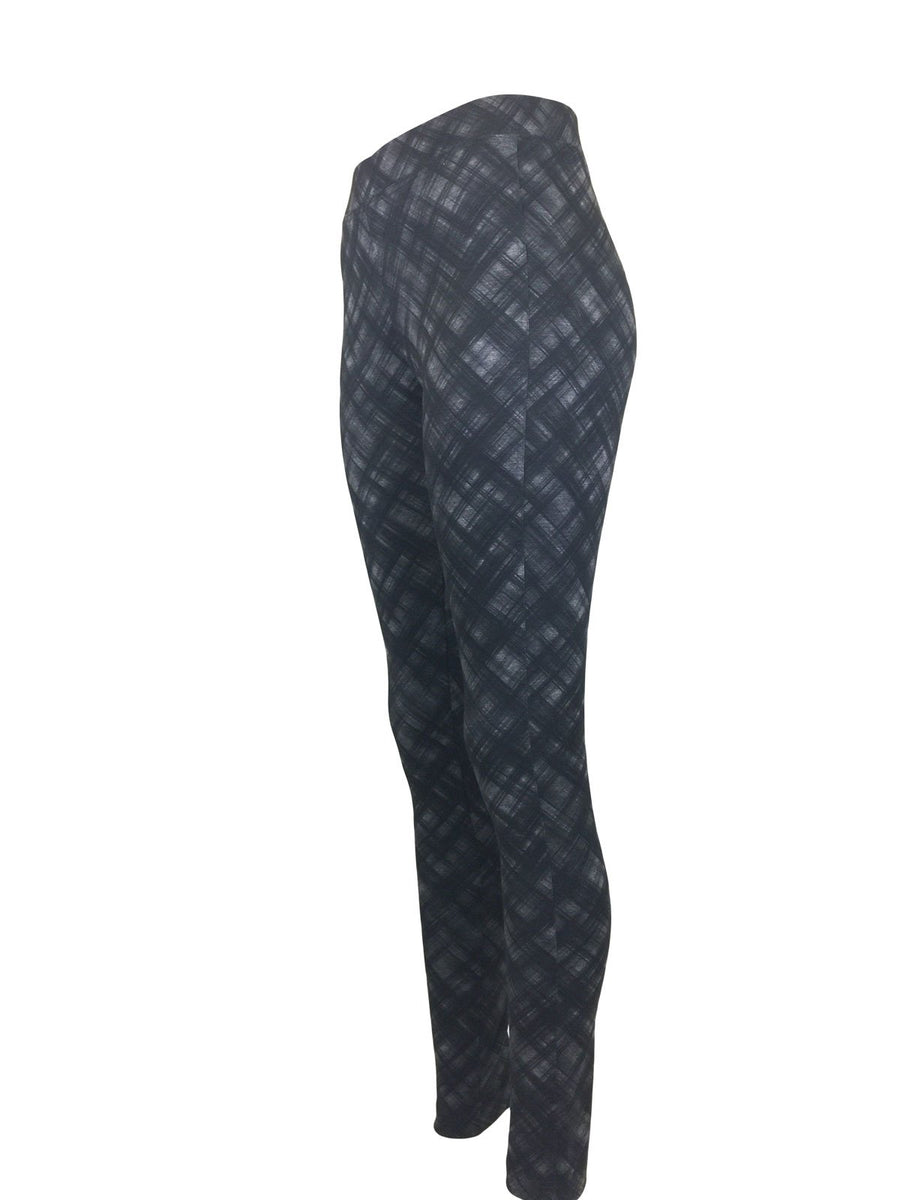 Charcoal Bias Plaid Print Ponte Leggings