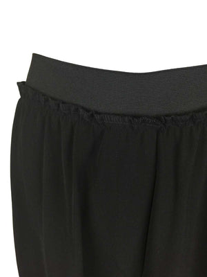 Wide Black Elastic Waistband Crop Pants by Atelieri