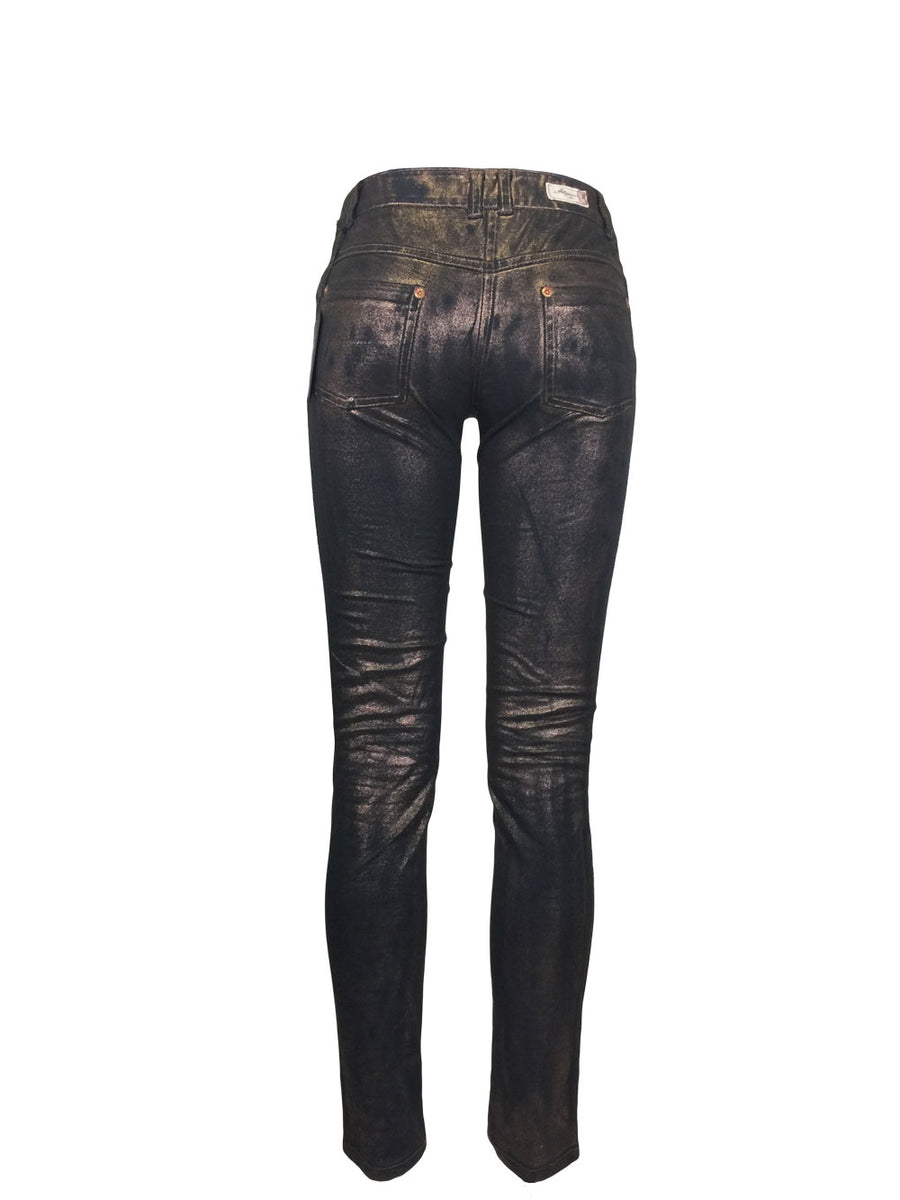 Copper Finish Skinny Jeans by Atelieri - ATELIERI