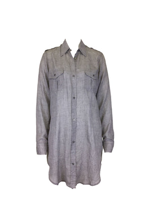 Light Gray Crinkle Long Line Tunic Shirt with pockets by Atelieri - ATELIERI