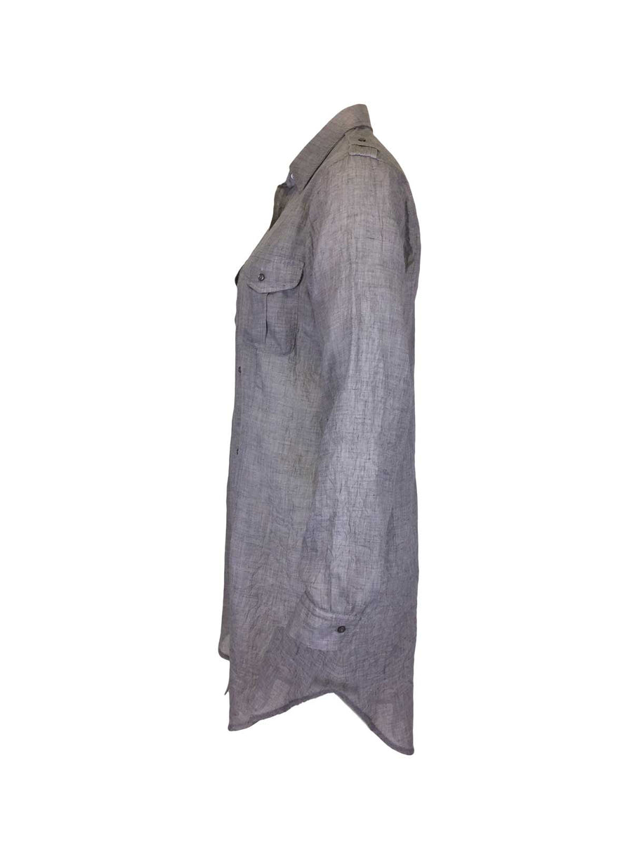 Light Gray Crinkle Long Line Tunic Shirt with pockets by Atelieri