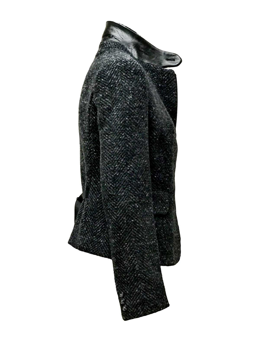 Charcoal Herringbone Tweed Blazer with leather collar by Atelieri