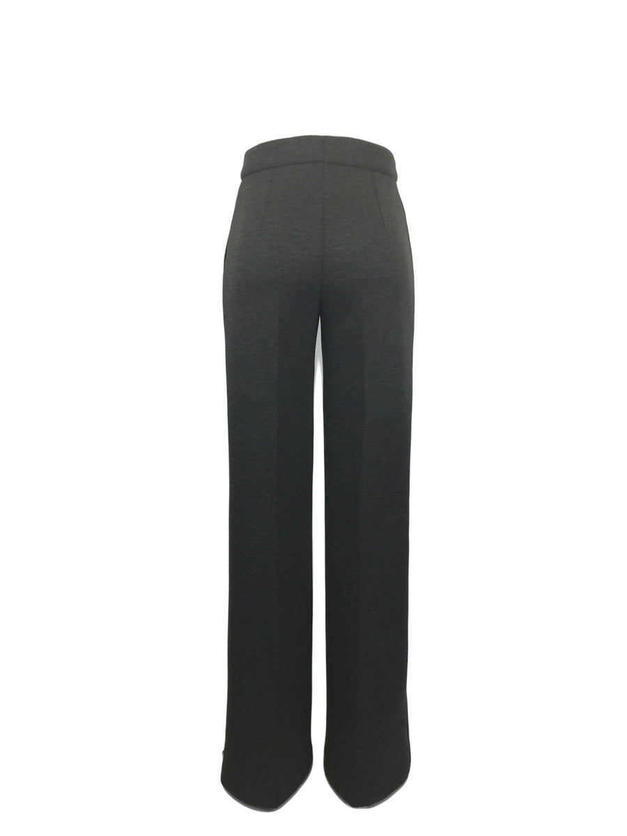 Super Long Leg Flare Pant in Heather Grey Bonded Flannel Neoprene