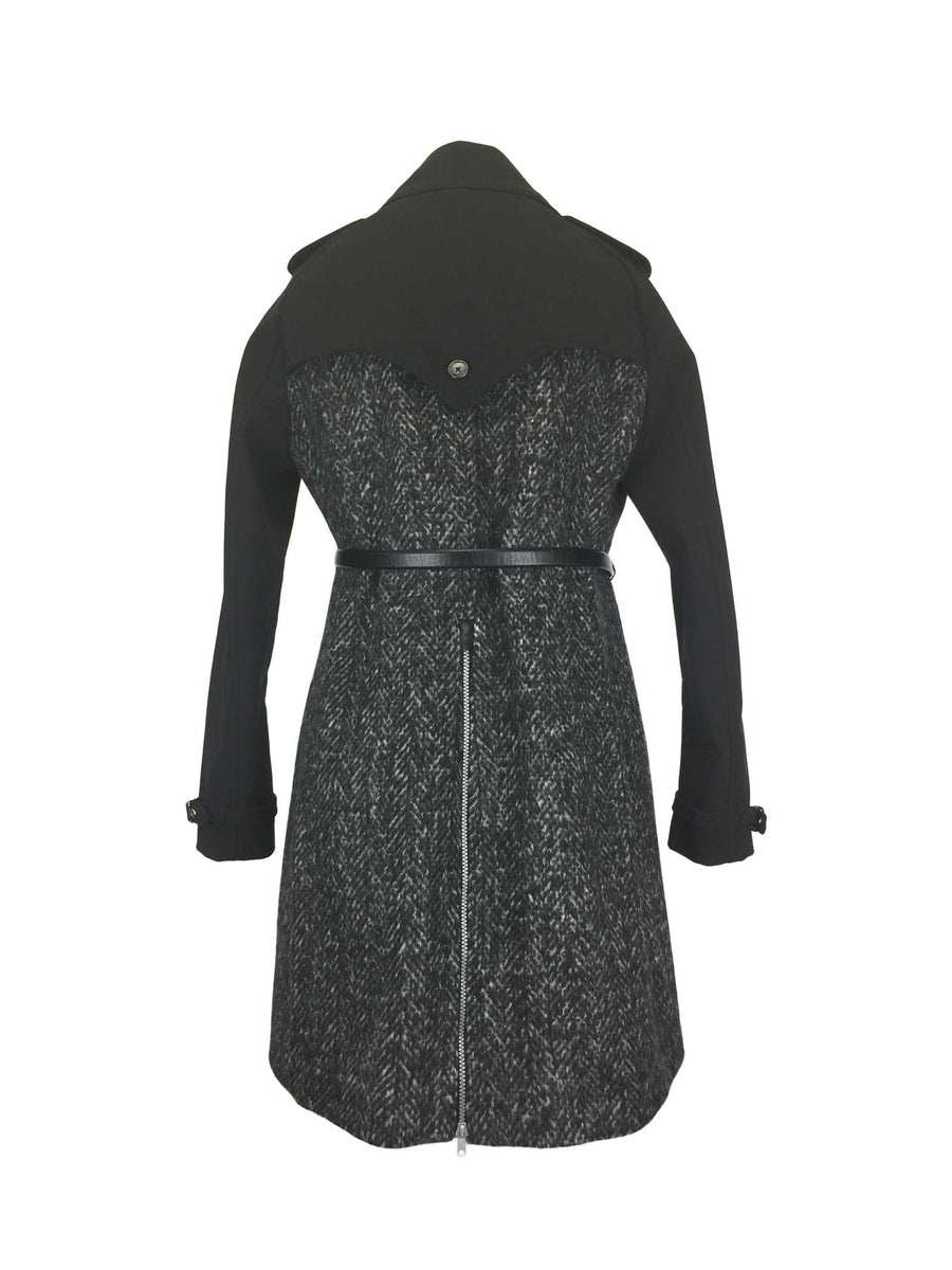 Charcoal black Herringbone Tweed Trench by Atelieri