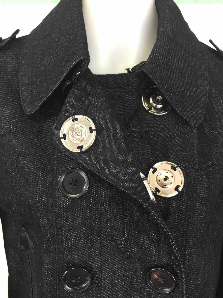 Boxy Pea Jacket in Washed Black Denim by Atelieri - ATELIERI
