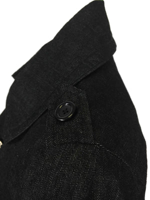 Boxy Pea Jacket in Washed Black Denim by Atelieri