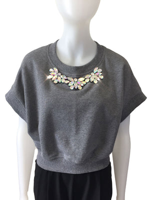 Gray Kimono Sleeve Beaded Sweat Top by Atelieri - ATELIERI