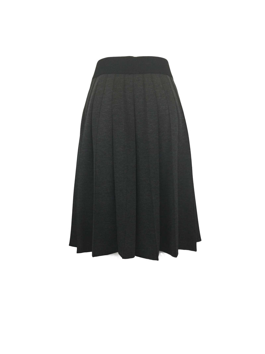Bonded Grey Flannel Neoprene Pleat Skirt by Atelieri - ATELIERI