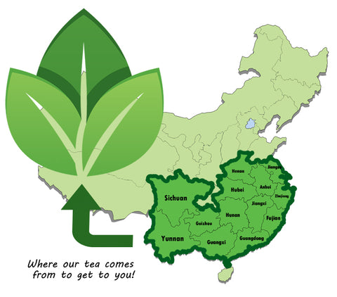 Map of Chinese Tea growing provinces