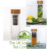450ml Luxury Crystal Double Wall Glass Water Bottle - The UK Loose Leaf Tea Company