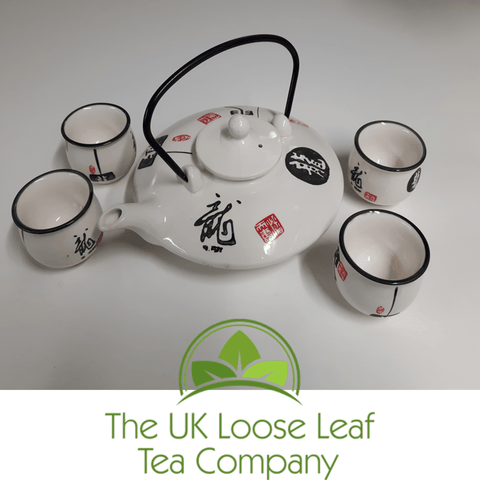 Gloss White Tea set ~ 4 Cup Teapot - The UK Loose Leaf Tea Company Ltd