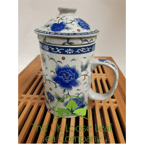 Blue Peony Design Infuser Mug - The UK Loose Leaf Tea Company