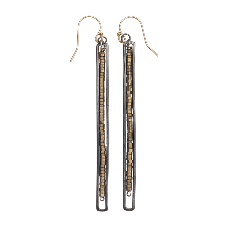 10163 - Framed Matte Pyrite Earring