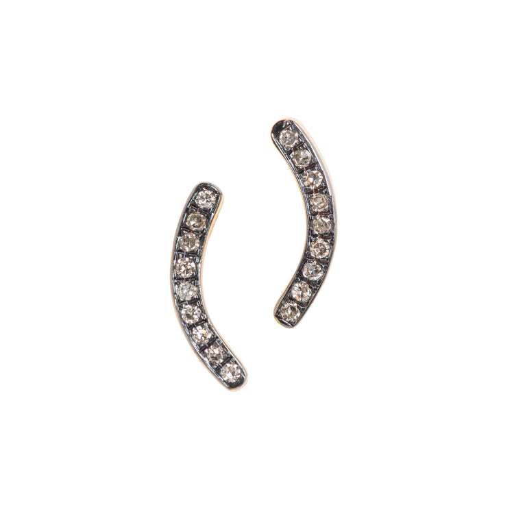 10178 - Curved Two-tone Stud Earrings