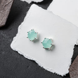 10196 - Hexagon Gemstone Stud in Sterling