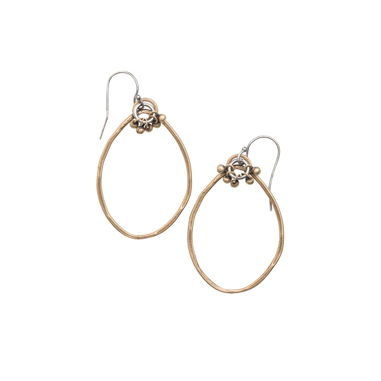 10214 - Large Yellow Bronze Organic Hoop with Dangles