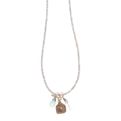 20105 - Good Luck Vintage Surya Charm Necklace on Labradorite