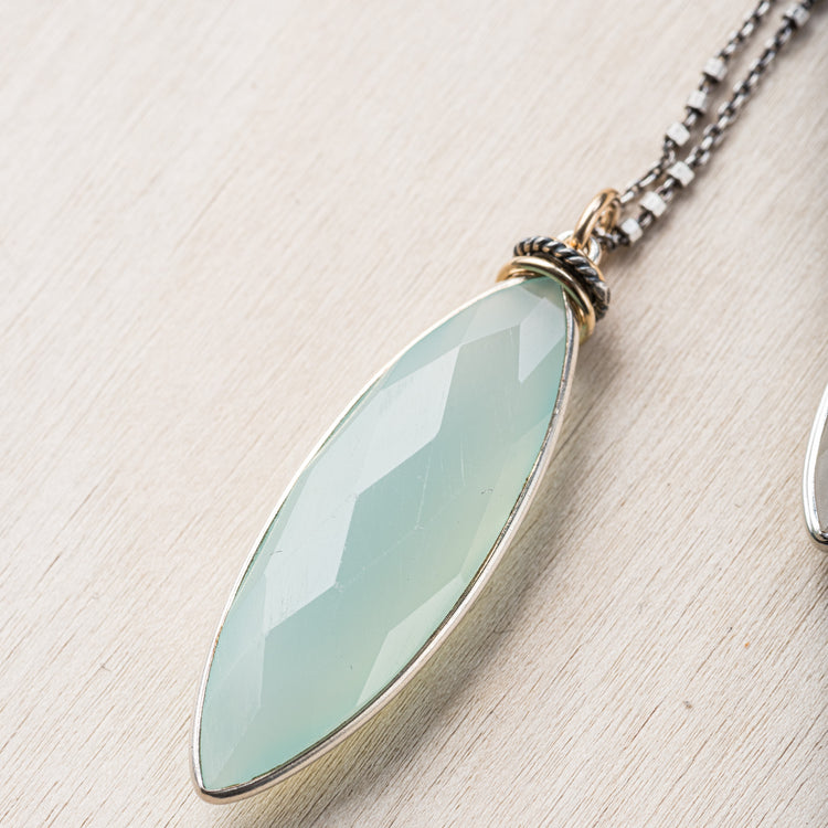 20165 - Silver Gemstone Pendant Necklace