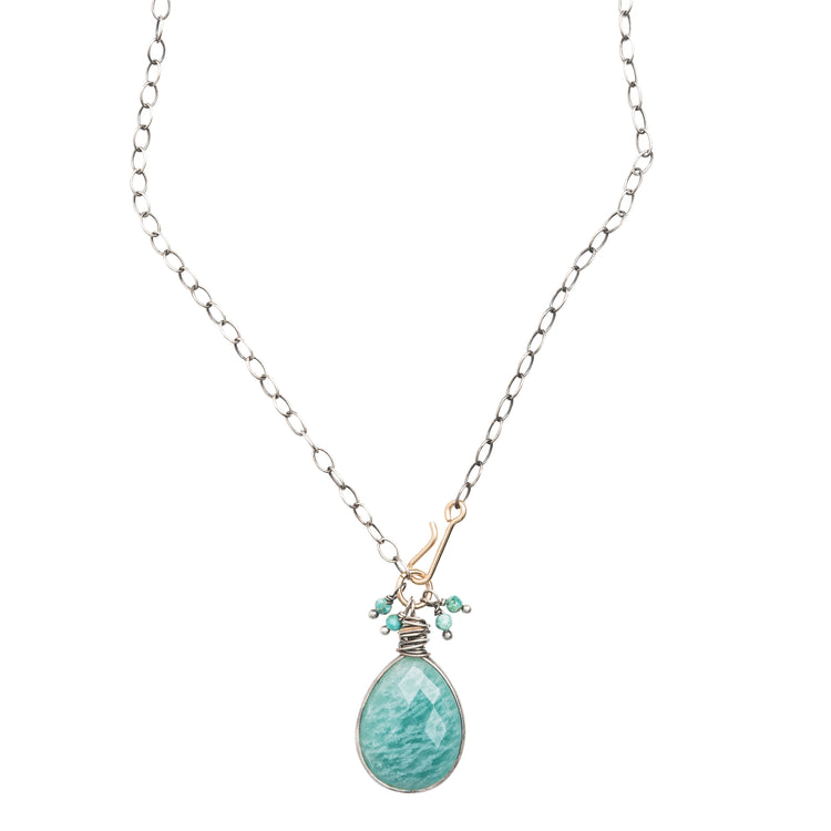 20191 - Amazonite Pendant Necklace with Turquoise Accents