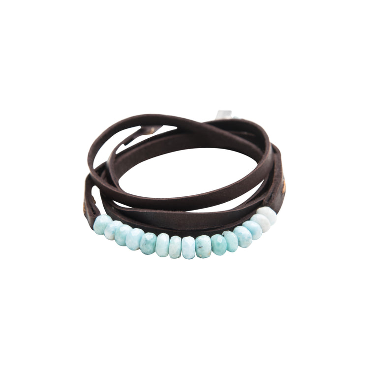 30015 - Brown Leather Multi-Wrap Bracelet with Larimar