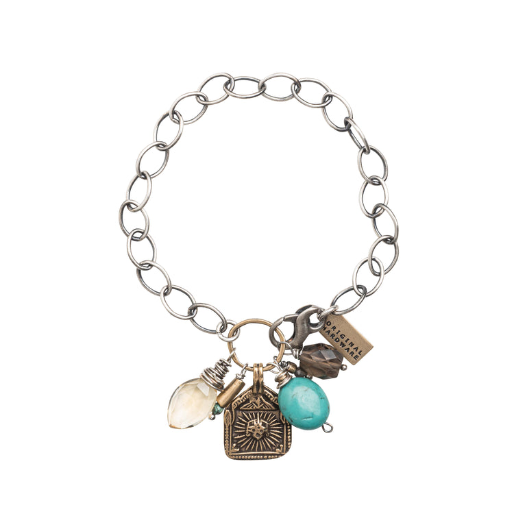30055 - Cluster Bracelet with Gemstones and Yellow Bronze Charm
