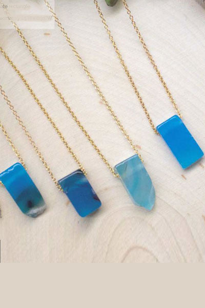 Blue Agate Gemstone Necklace