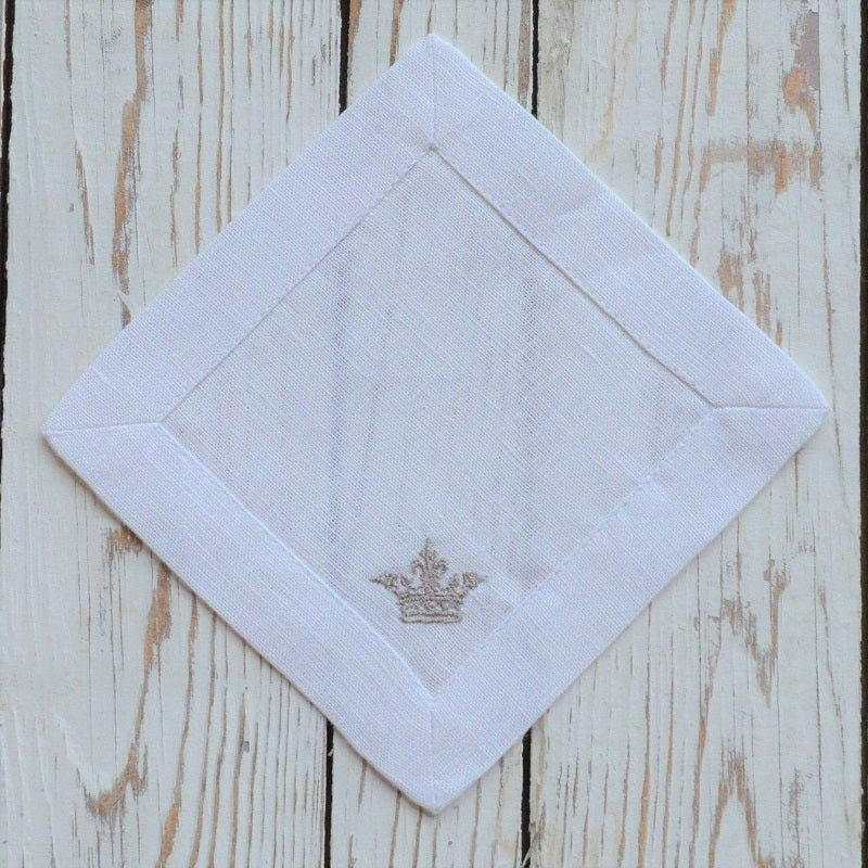 Linen Embroidered Napkins - Cocktail (set of 4)