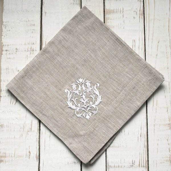 Linen Napkin Embroidered - Damask