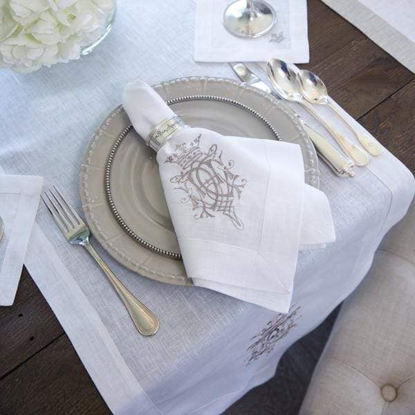 Linen Napkin Embroidered - Royal