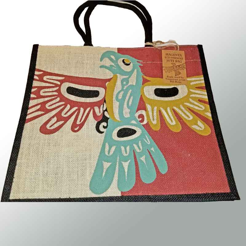 Raven or Eagle Jute Shopping Bag - artwork by Bill Helin